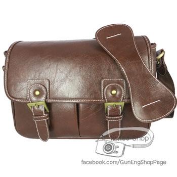 กระเป๋ากล้องแนวๆ Smart Dark Brown Leather Bag (M)