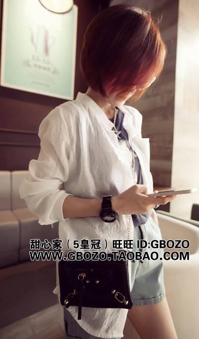 (SALE) เสื้อเชิ๊ต แฟชั่น แขนยาว ผ้าpoly esterบาง สีขาว