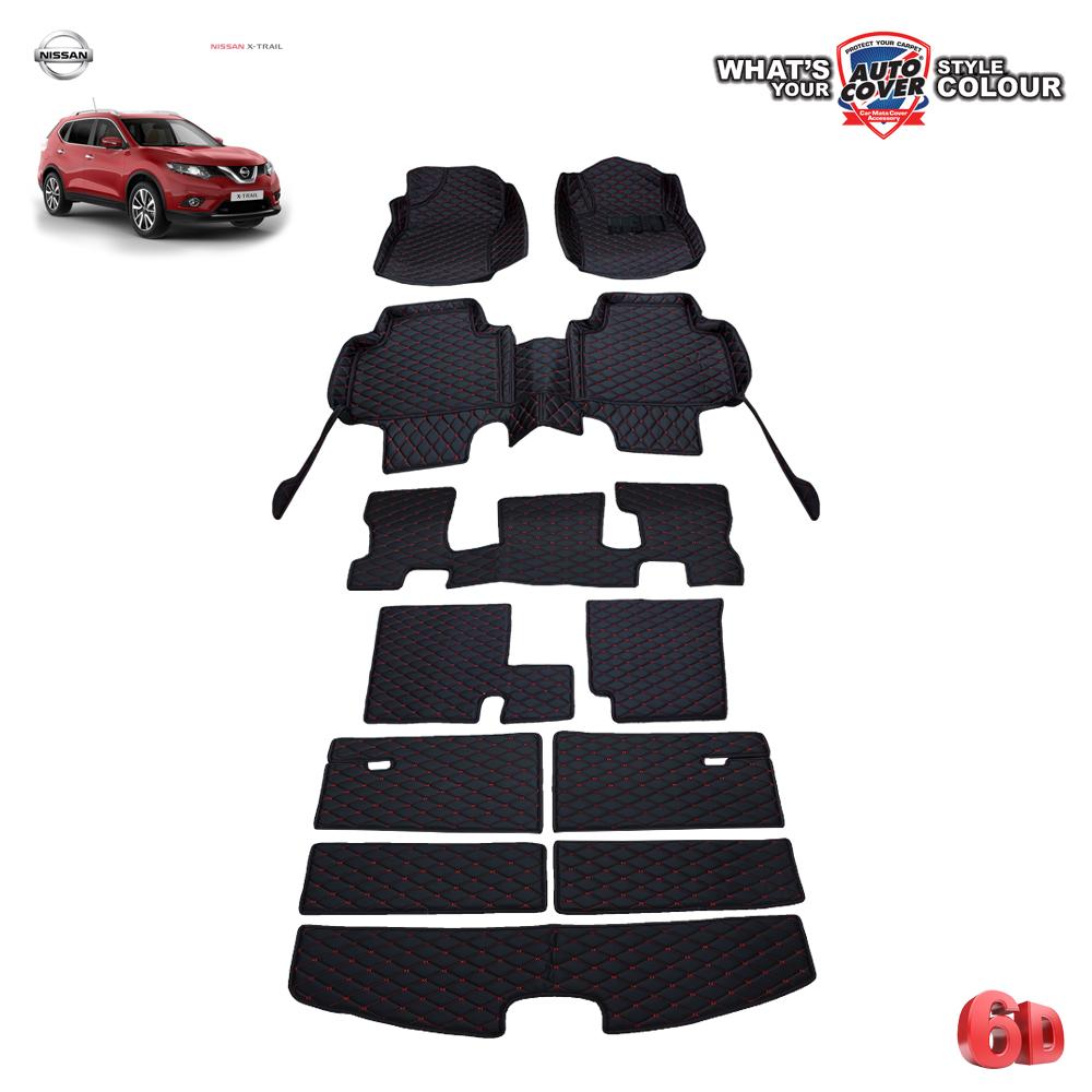 พรมรถยนต์ 6D Leather Car Mat จำนวน 11 ชิ้น NISSAN ALL NEW X-TRAIL 7 ที่นั่ง 2015-2019