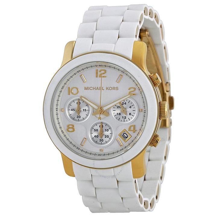 นาฬิกา Michael Kors ไมเคิล คอร์ รุ่น MK5145 Women's Two Tone Stainless Steel Quartz Chronograph White Dial Watch ของแท้ รับประกัน1ปี