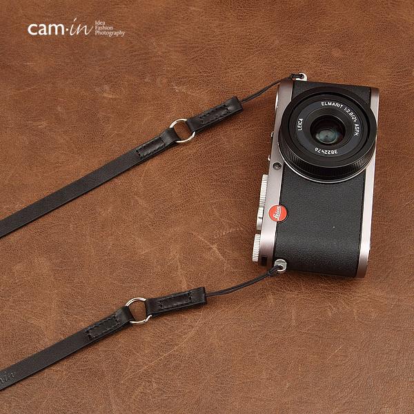 สายคล้องกล้องหนังแท้ cam-in Simple Leather สายหนังแท้เส้นเล็ก ร้อยรูเล็กได้ สีดำ