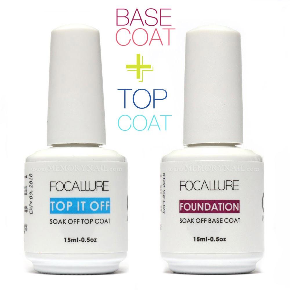 Focallure Top และ Base สีทาเล็บเจล สำหรับเคลือบใส และรองพื้น รวม 2 ขวด