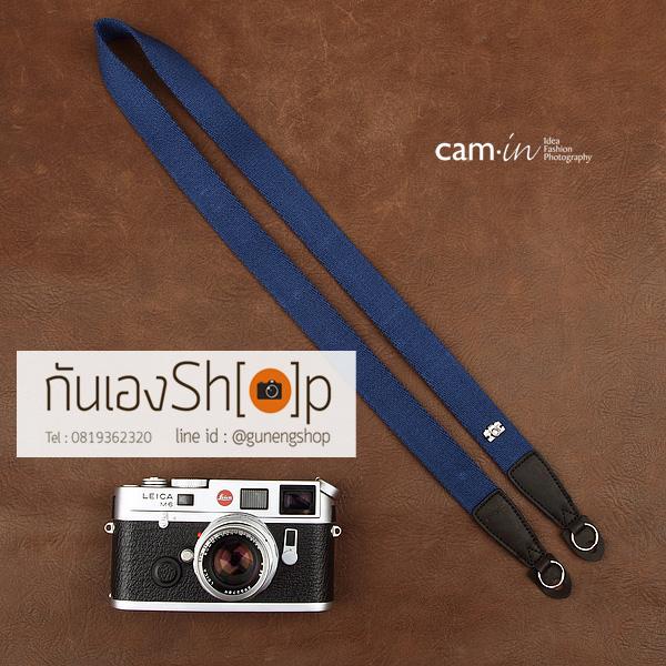 สายคล้องกล้อง cam-in สีพื้นเส้นเล็ก สีน้ำเงินเข้ม แบบห่วง 25 mm