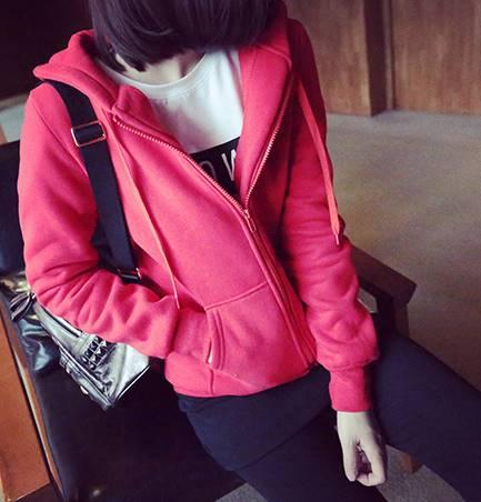 เสื้อคลุม แขนยาว บุกันหนาว ซิบหน้า มีฮูด สีแดง