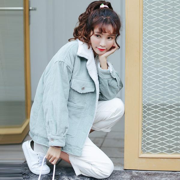 เสื้อแจคเกตบุขนแกะ ผ้าลูกฟูก สีพาสเทล สไตล์เกาหลีสุดน่ารัก สีเทา ฟ้า ชมพู