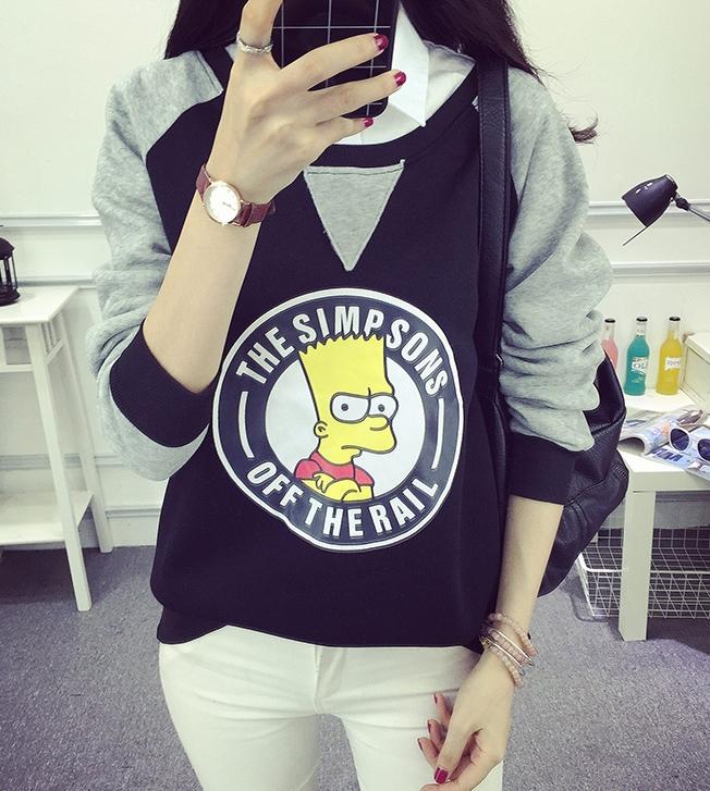 เสื้อแฟชั่น คอกลม แขนยา บุกันหนาว ลาย The Simpsons สีดำ