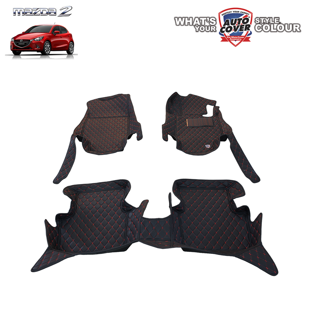 พรมเข้ารูป 6 D Leather Car Mat จำนวน 3 ชิ้น MAZDA 2 SKYACTIV 4-5 DOOR