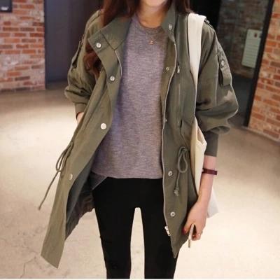เสื้อแจคเกตผู้หญิงสีเขียวทหาร เท่ห์ๆ ทรง oversize มี size s-xl