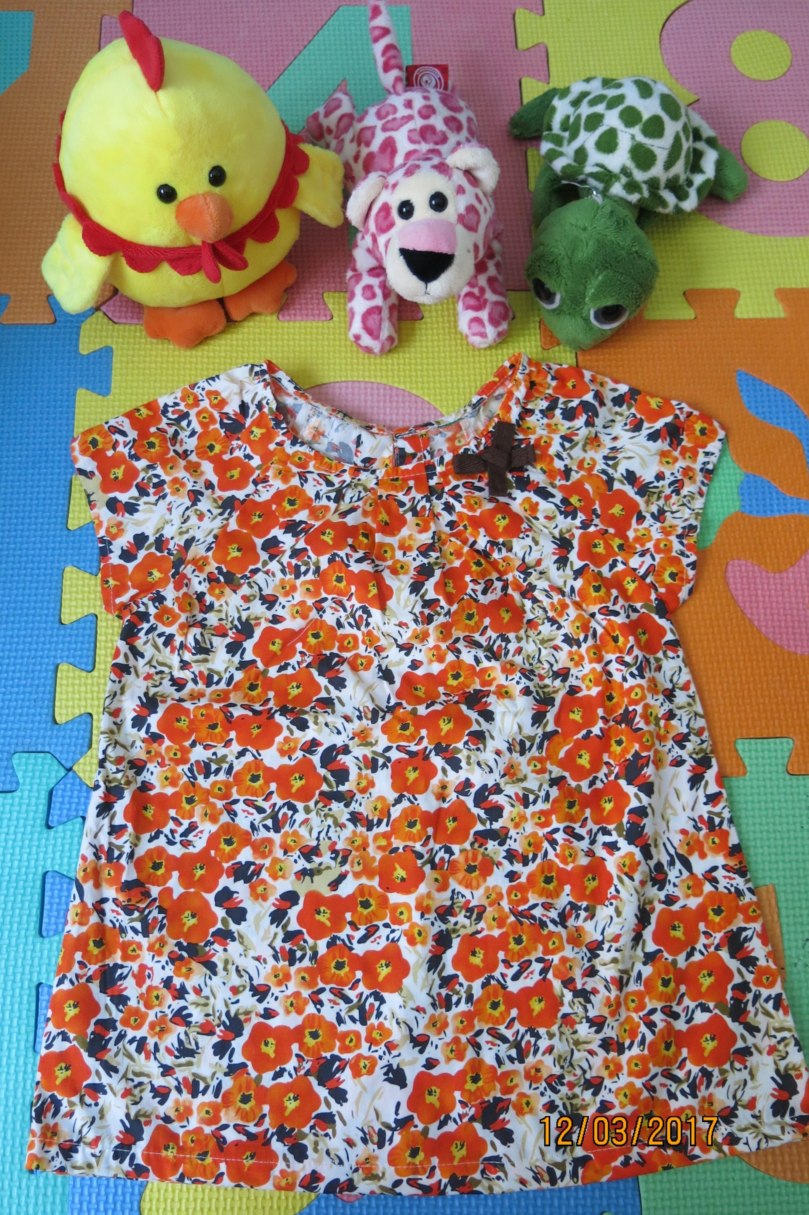 เสื้อเด็ก D1 (3-4 ขวบ) ลายดอกไม้สีส้ม