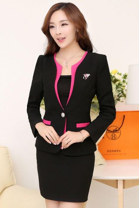 (สินค้าหมด) เสื้อสูทแฟชั่น เสื้อสูทผู้หญิง เซ็ตคู่ สีดำแต่งขลิบสีชมพู คอวีลึกติดกระดุมเม็ดเดียว แขนยาว กระโปรงทรงเอ สีดำมีซิบรูดด้านหลัง