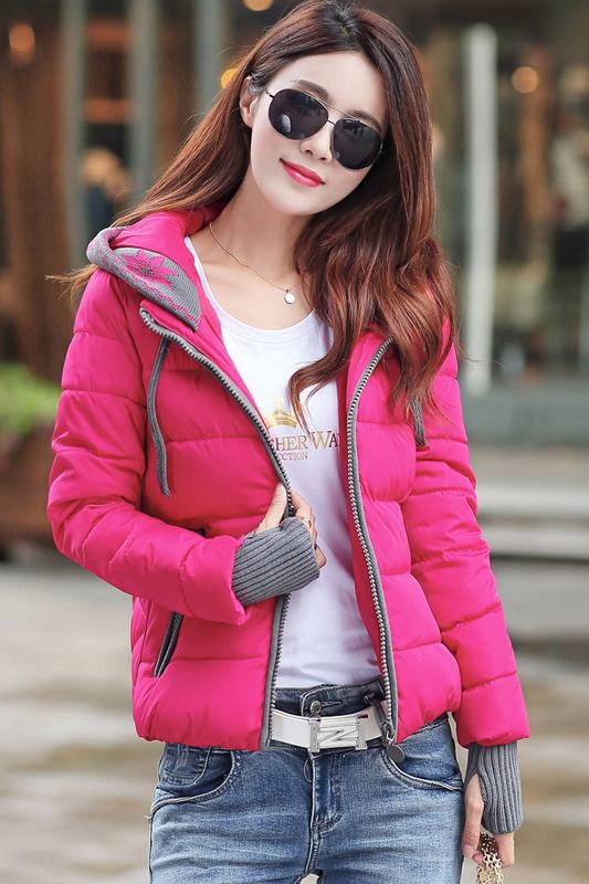 (สินค้าหมด) เสื้อโค้ทกันหนาว สีชมพูบานเย็น ตัดสีเทา มีฮู้ท แบบซิปรูด