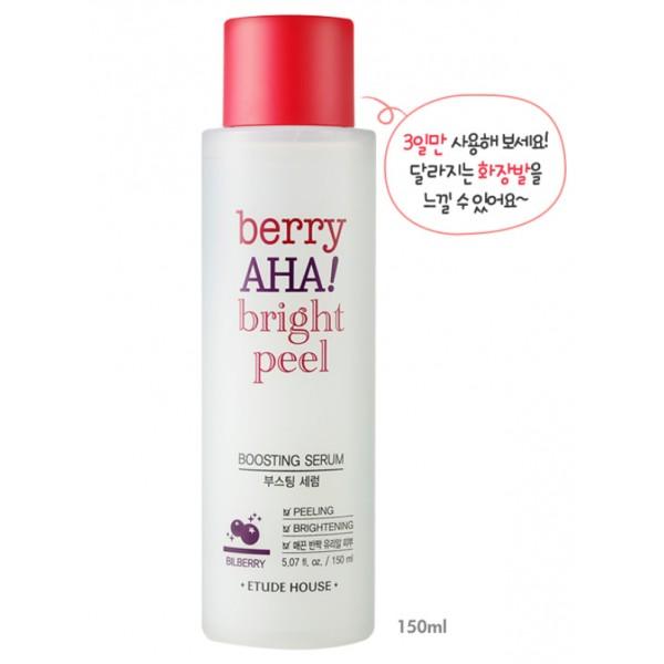 พร้อมส่ง Etude House Berry AHA Bright Peel Boosting Serum 150ml. เซรั่มบำรุงผิวในรูปแบบโทนเนอร์ ส่วนผสมหลักจาก AHA ธรรมชาติ ทำให้ผิวเนียนเรียบ ลดการอุดตัน ผิวกระจ่างใสจุดด่างดำดูจากลง