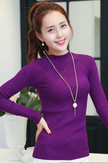 (สินค้าหมด) เสื้อกันหนาวไหมพรมผู้หญิง สีม่วง คอกลม ตัวสั้น ดีเทลลายทางตรง