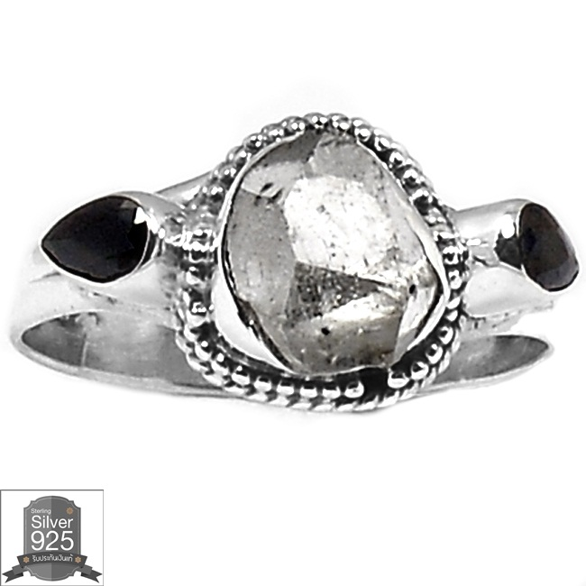 ▽แหวนเงินแท้ 925 - HERKIMER DIAMOND & BLACK ONYX (size 8.5)