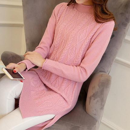 เสื้อไหมพรมแฟชั่นกันหนาว เสื้อสเวตเตอร์ สีชมพู ดีเทลลายถักลูกโซ่ สไตล์สาวหวาน สุดคิ้วท์