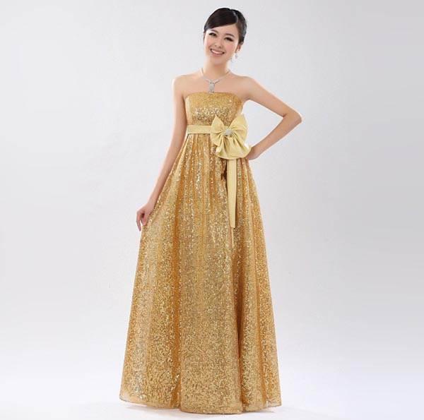 ชุดกระโปรงยาวน่ารัก สีทองอ่อน ผ้ายืด