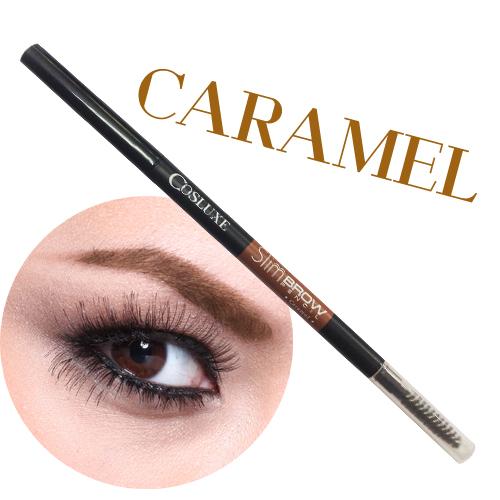 Cosluxe EYEBROWS SlimBrow Pencil # Caramel สีน้ำตาลอ่อน ดินสอเขียนคิ้ว แท่งหมุนแบบ Auto ไม่ต้องเหลา หัวเรียวเล็กเพียง 1 mm. *พร้อมส่ง*