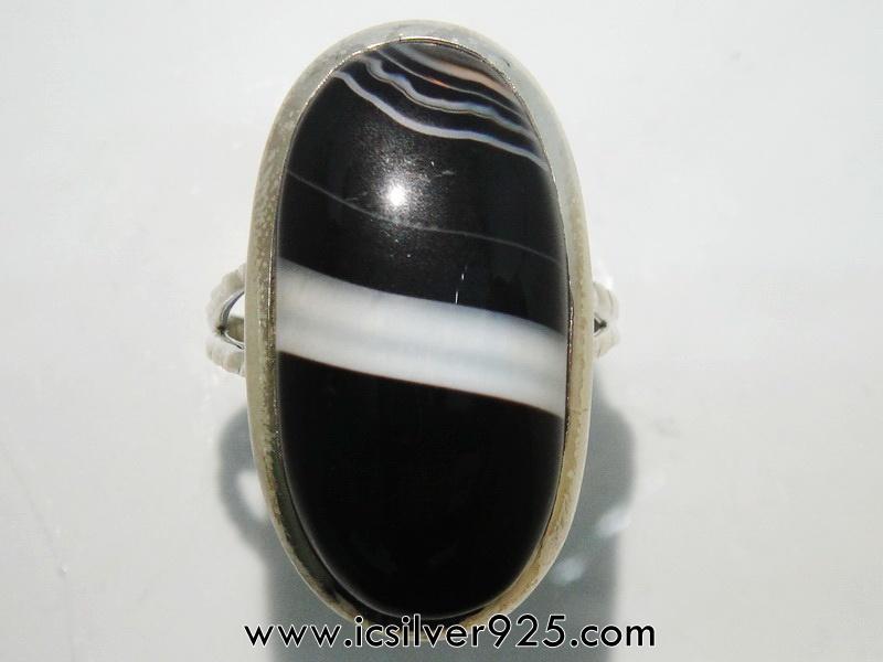 บอสวาน่า อาเกต (Black Botswana Agate)แหวนเงินแท้ 925(แหวนเบอร์ : 61)