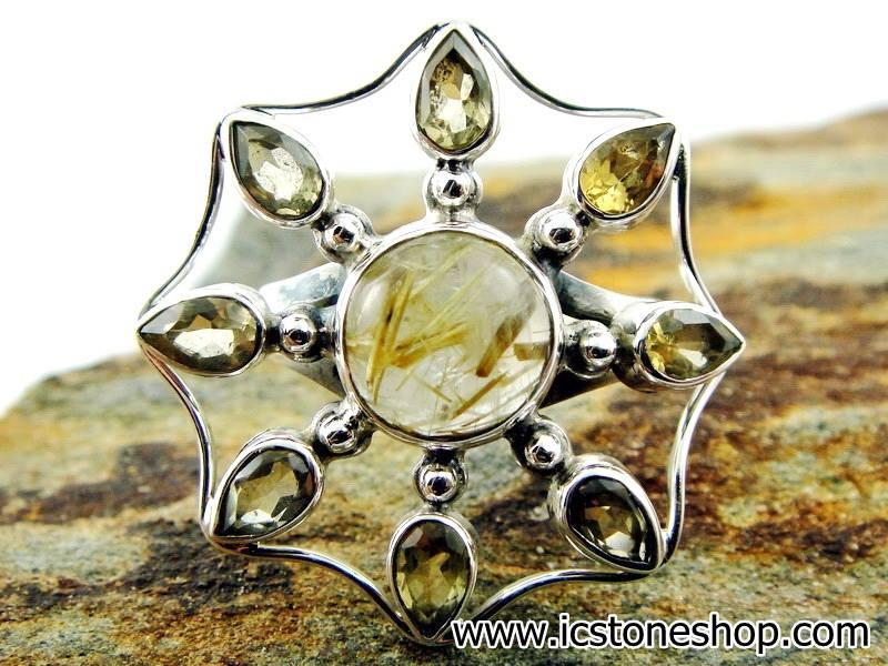 ▽ไหมทอง Golden Rutile,ซิทริน แหวนเงินแท้ 925 (แหวนเบอร์ 58, 5.9g)