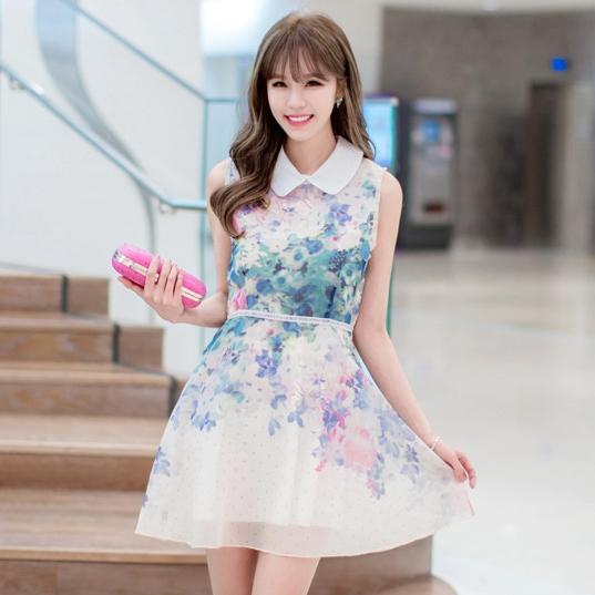 ชุดเดรสสั้นสีครีมพิมพ์ลายน่ารักๆ คอปก แขนกุด สวยหวานสไตล์เกาหลี
