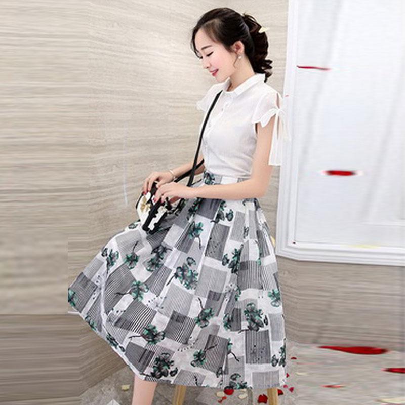 ชุดทำงานสวยๆสไตล์สาวออฟฟิศ เซ็ทเสื้อ+กระโปรงโทนสีขาว เขียว ลุคสวย น่ารัก แฟชั่นเกาหลี