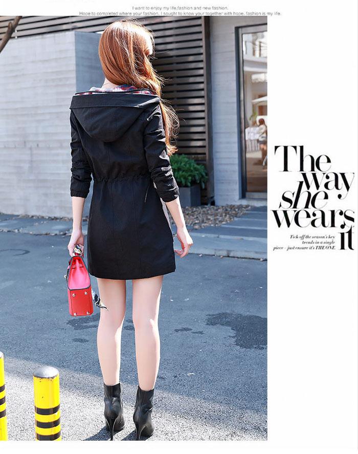เสื้อกันหนาวผู้หญิงแฟชั่นเกาหลี สีดำ แจ็คเก็ตกันลมมีฮู้ด ตัวยาวคลุมสะโพก แต่งลายสก็อต สำเนา
