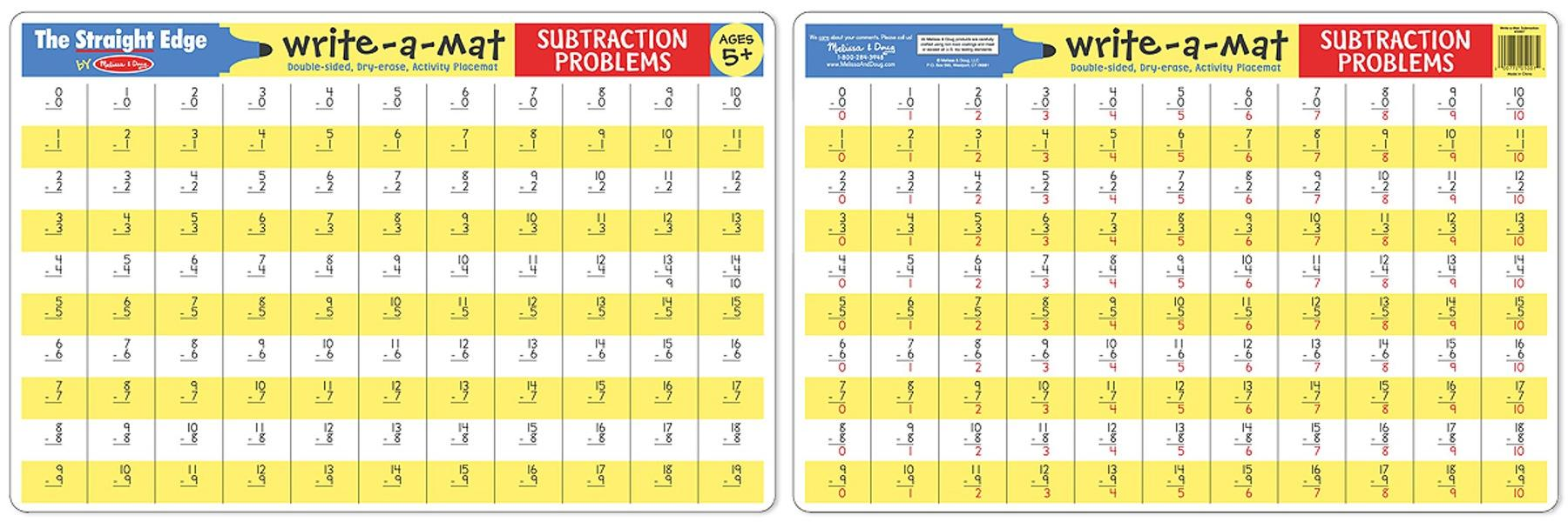 แผ่นรองจานแสนสนุก Write-A-Mat Learning Mat - Subtraction