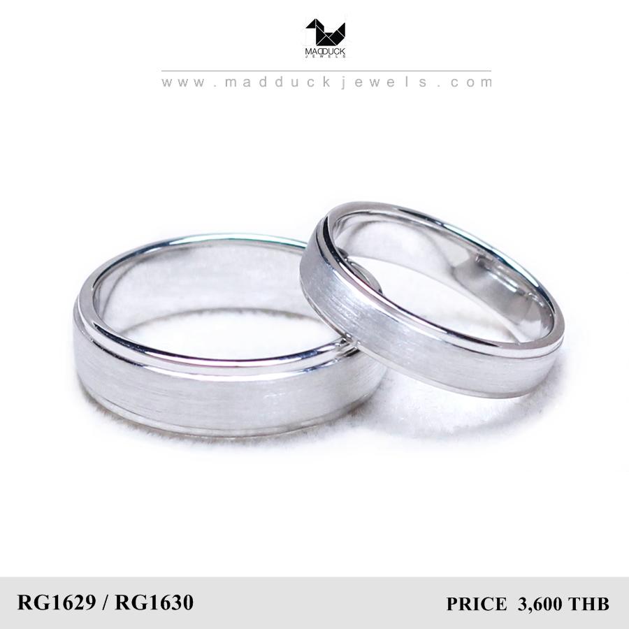 แหวนคู่รักเงินแท้ เพชรสังเคราะห์ ชุบทองคำขาว รุ่น LV16291630 Tollway plain B&G