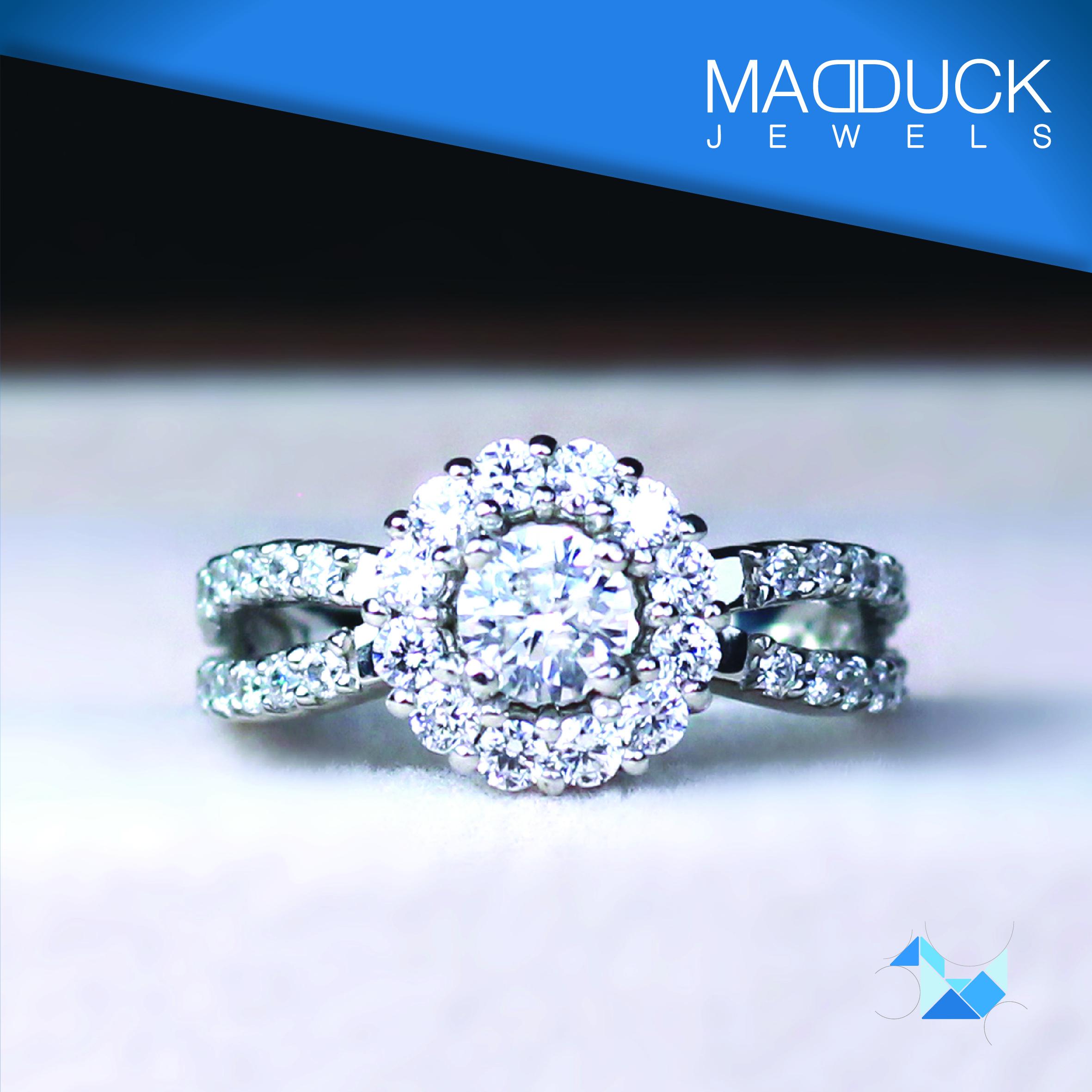 แหวนเงินแท้ เพชรสังเคราะห์ ชุบทองคำขาว รุ่น RG1463 Maxi Fring