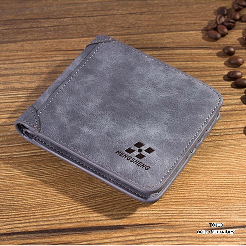 กระเป๋าสตางค์ผู้ชาย ทรงสั้น SevJink LeaR - สีน้ำเงิน