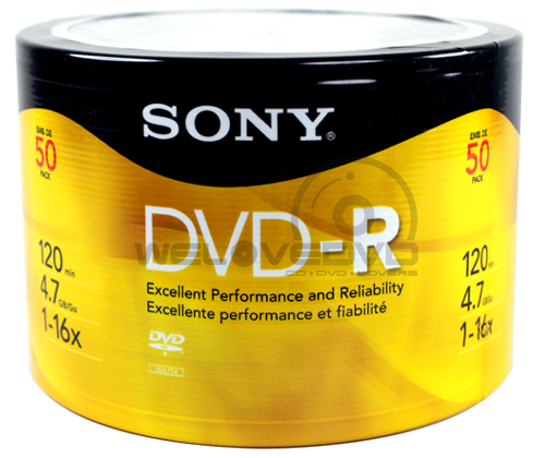Sony DVD-R 16X (50 pcs/Plastic Wrap)