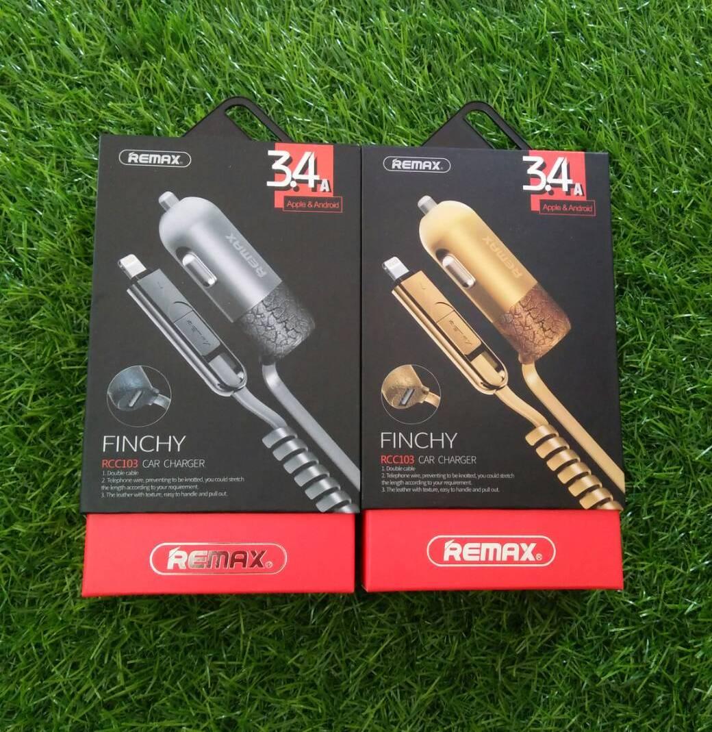 หัวชาร์จในรถพร้อมสายชาร์จ Remax 3.4A 2in1 RC-C103 (Micro USB&Lighting) (ของแท้)