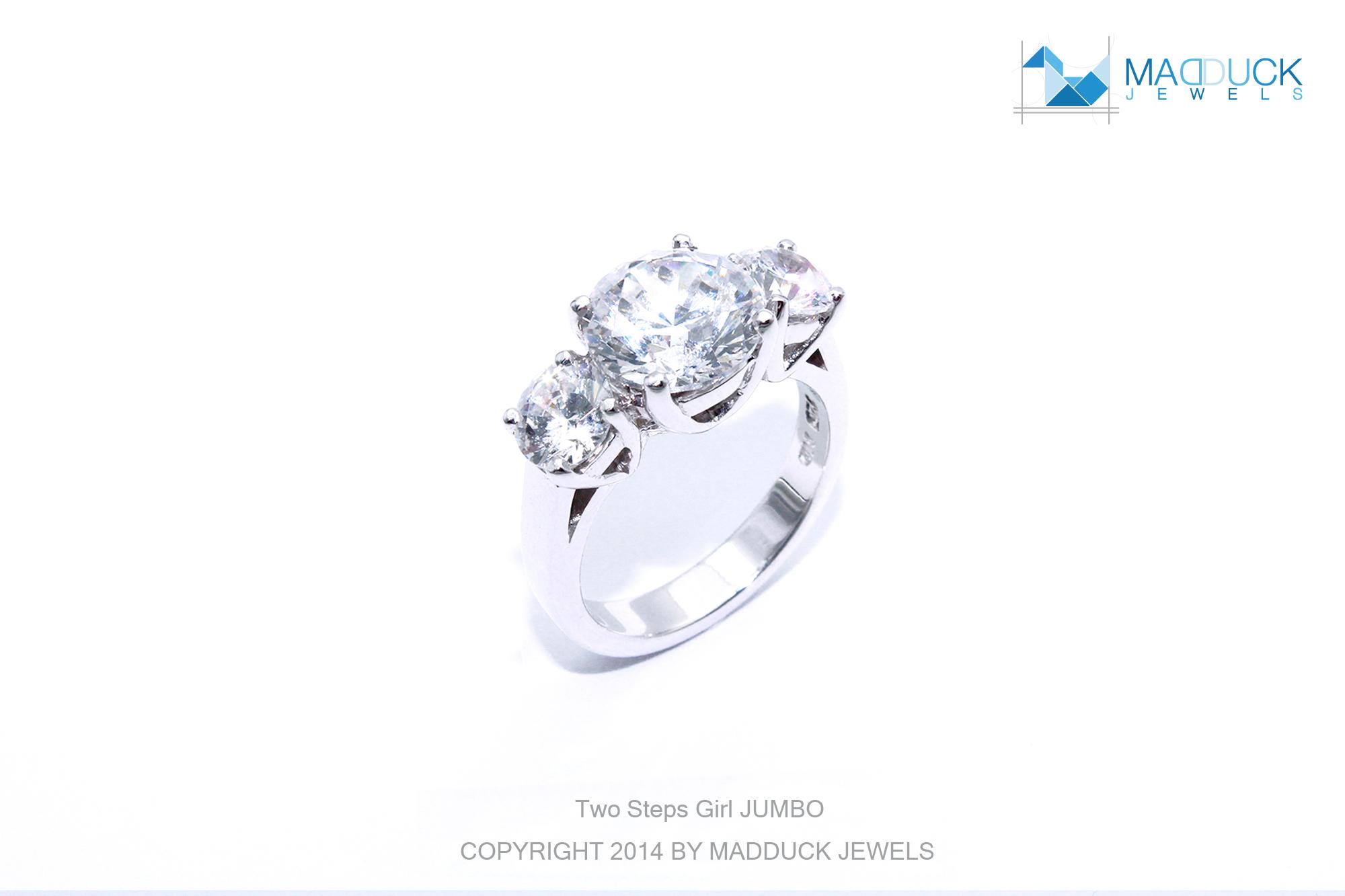 แหวนเงินแท้ เพชรสังเคราะห์ ชุบทองคำขาว รุ่น RG1433 two step G jumbo