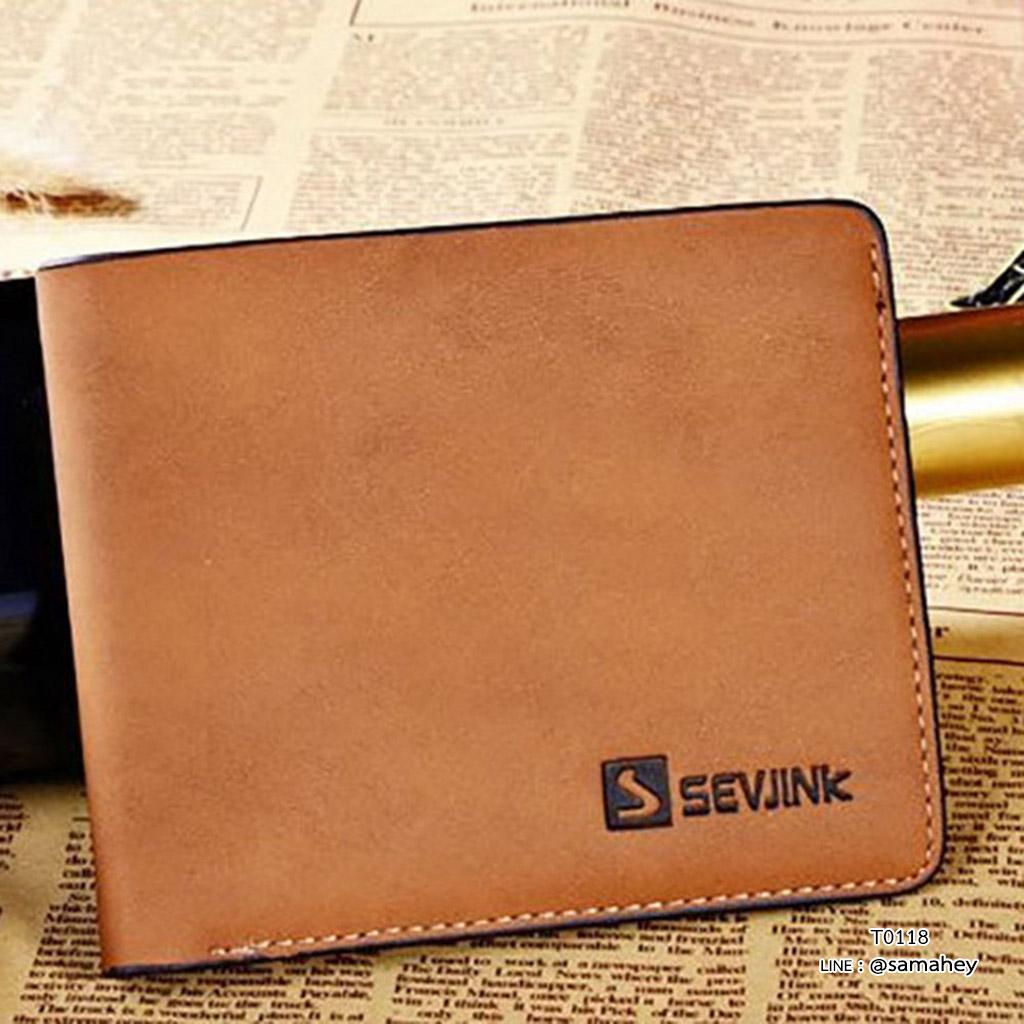 กระเป๋าสตางค์ผู้ชาย ทรงสั้น รุ่น SEVJINK - สีน้ำตาล