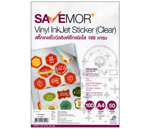 IJ SaveMOR Vinyl Inkjet Sticker Clear 100G (A4/50 Sheets)