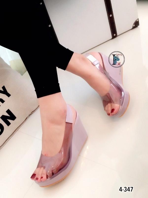 รองเท้าส้นเตารีดรัดส้น แบบใส (สีม่วง )