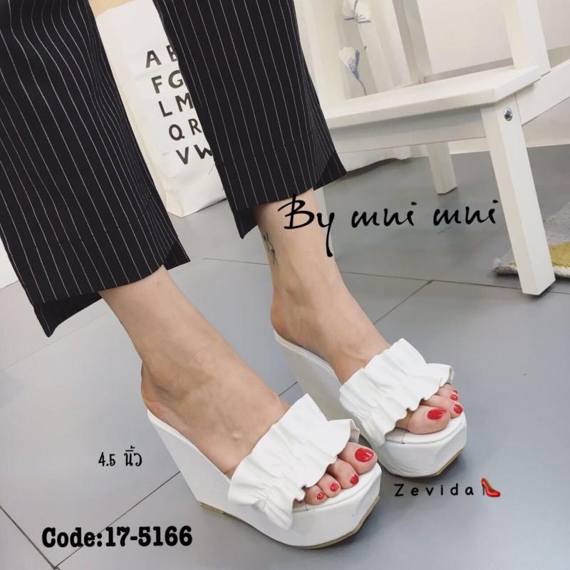 รองเท้าส้นเตารีดเปิดส้นสีขาว แต่งหนังแบบเย็บดีเทลระบายๆน่ารัก (สีขาว )