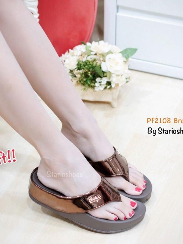 รองเท้าแตะเพื่อสุขภาพ ส้นหนา สายคาดเมทัลลิคเงา (สีน้ำตาล )
