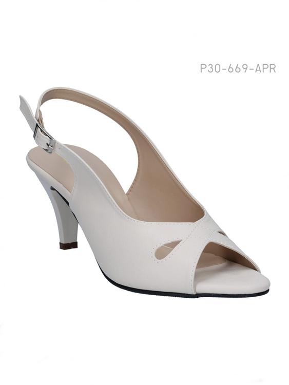 รองเท้าส้นสูงรัดส้น สไตล์เรียบหรู (สีแอปปริคอท )