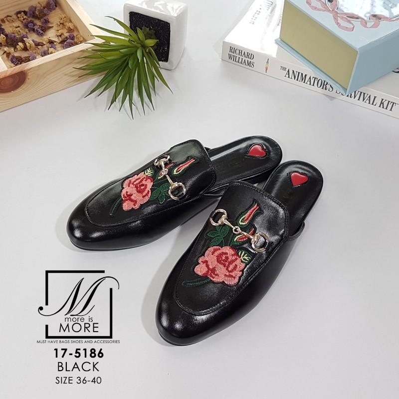 รองเท้าส้นแบนเปิดส้นสีดำ style แบรนด์ Gucci (สีดำ )