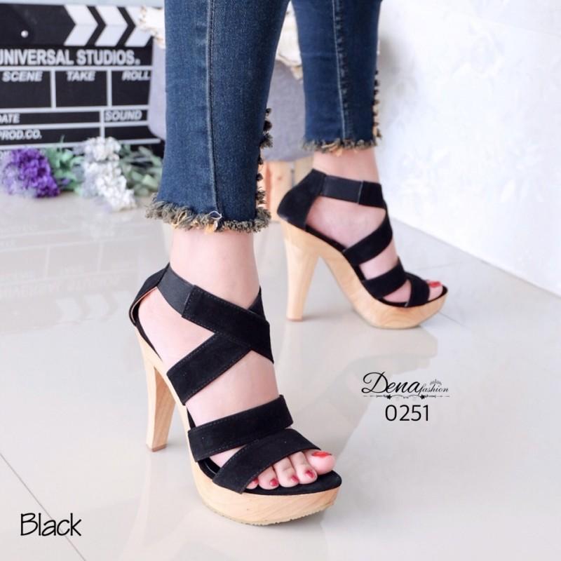รองเท้าส้นสูงรัดข้อสีดำ สักหราด สายรัดแบบไขว้ (สีดำ )