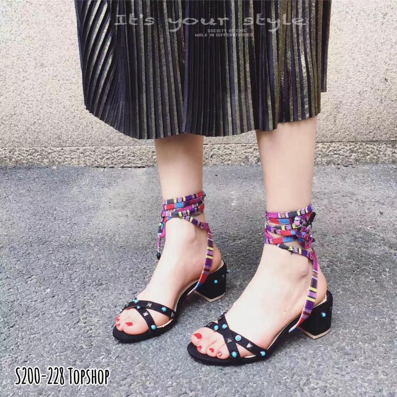 รองเท้าส้นตันพันข้อเท้าสีดำ ตอกหมุด สไตล์TOPSHOP (สีดำ )