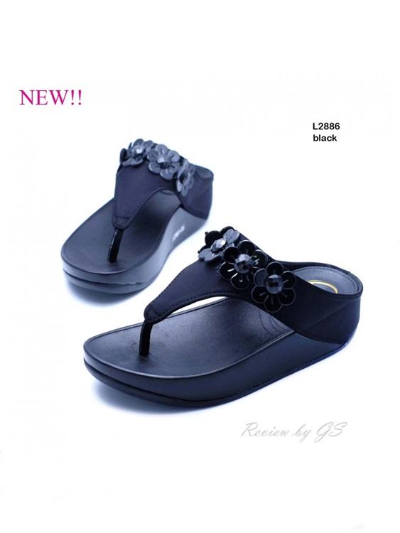รองเท้าแตะเพื่อสุขภาพ หูคีบ เสริมพื้น ผ้าซาติน (สีดำ )