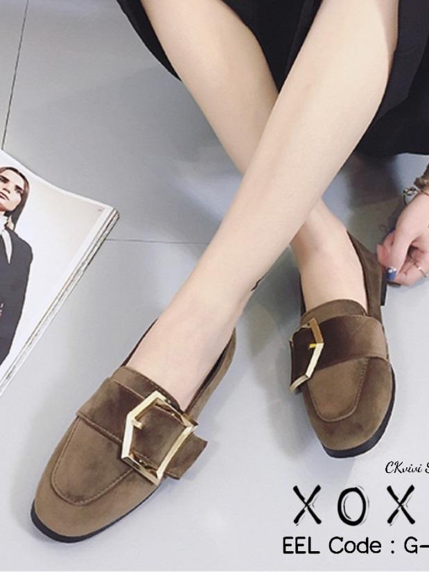 รองเท้าคัทชูส้นแบน หนังสักราจนิ่ม ด้านหน้าทรงตัวยู สไตล์วินเทจ (สีกากี )