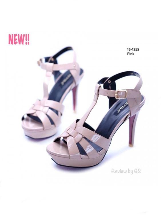 รองเท้าส้นสูงรัดส้น วัสดุหนังแก้ว ทรงขายดี สไตล์เกาหลี (สีชมพู )