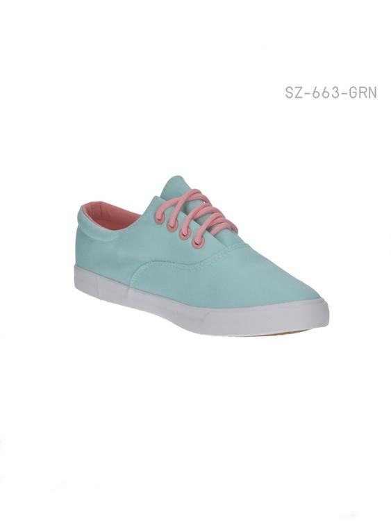 รองเท้าผ้าใบผู้หญิง สไตล์หวาน (สีเขียว )