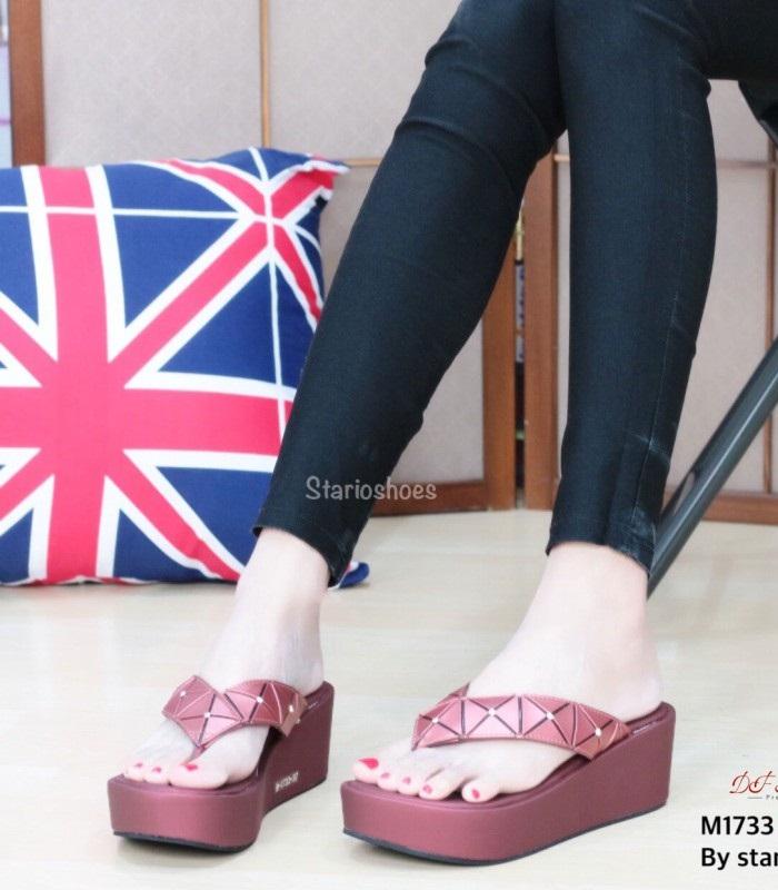 รองเท้าแตะหูหนีบสีแดง Style issey miyake (สีแดง )
