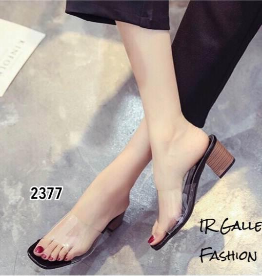 รองเท้าส้นตันเปิดส้นสีดำ สไตล์ลำลอง พียูใสไม่บาดเท้า (สีดำ )