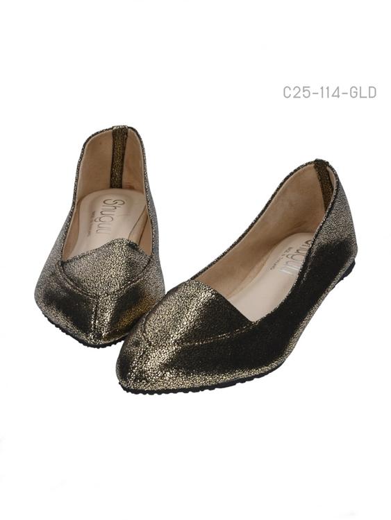รองเท้าคัทชู แฟรตหัวแหลม (สีทอง)