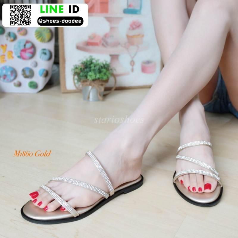 รองเท้าแตะผู้หญิง สายคาดเพชร M1860-GLD [สีทอง]